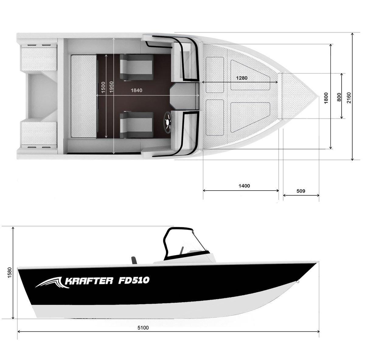 Габаритные размеры катера KRAFTER FishDeck 510